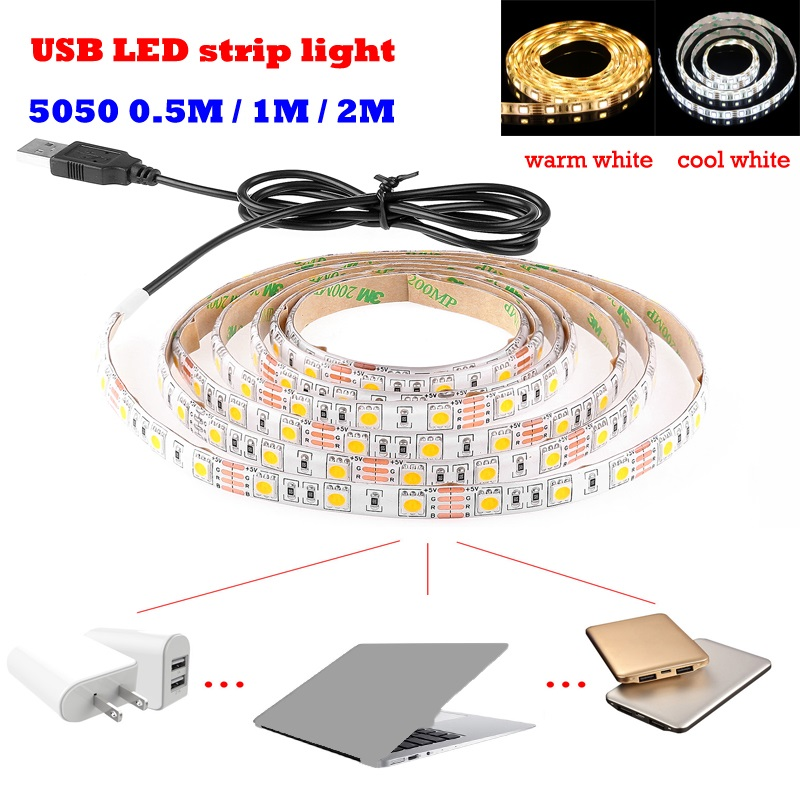 USB LED Strip Light 5V 5050 SMD 0.5cm 1M 2M 5M IP65Waterproofwhite warm white Flexible TV Background Lighting Strip usb Cable(China (Mainland))