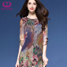 MYCOURSE Dress Floral Print Asymmetric Midi Silk Dress for Women New Fashion Vintage Half Sleeve Loose Summer Dresses Vestidos(China (Mainland))