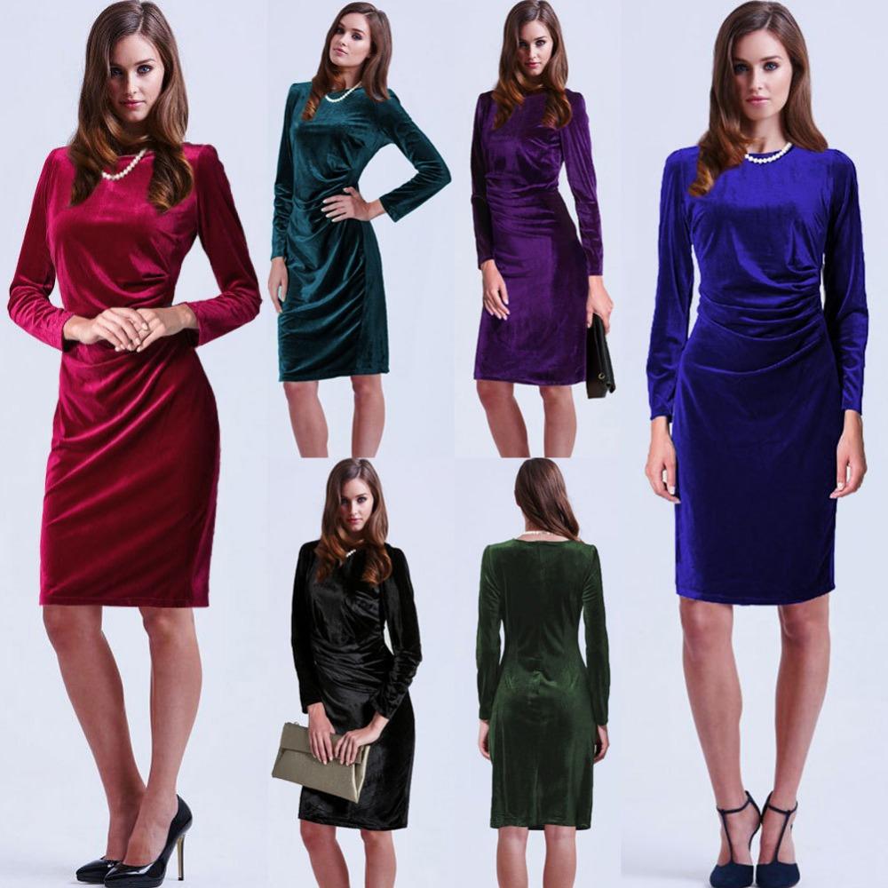Hot Sale Autumn New Fashion Women Solid Color Crew Neck Velvet Dresses Long Sleeve Waist Elegant Dress(China (Mainland))