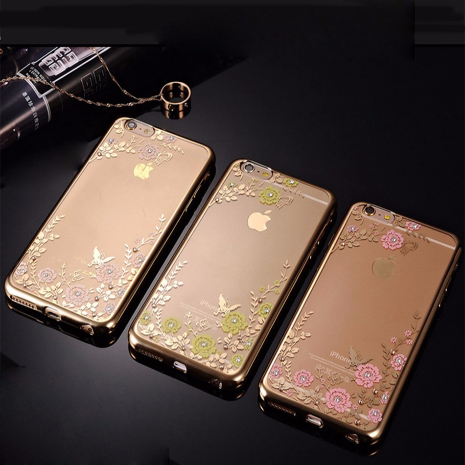 Bling case for apple iphone 6 s silicone case for iphone 6 s plus 6 plus / 5 5s se flower tpu clear back cover