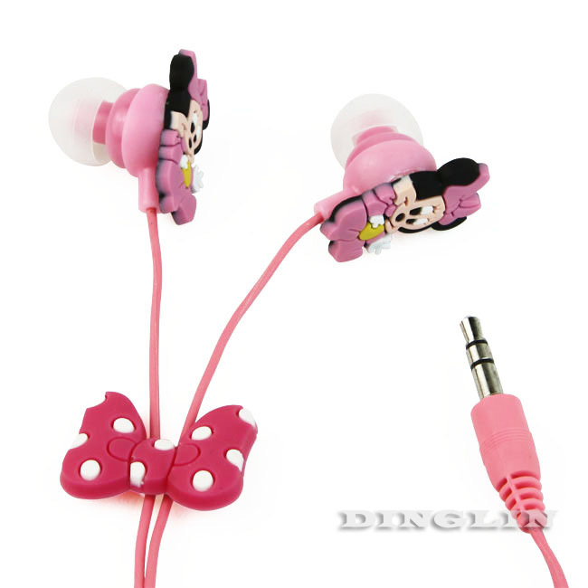 Wholesale 5pcs/Lot Candy Minnie Style Cute Anime Funny Kids Cool Headphone Earphone Earbud 3.5mm In-Ear Mp3 Free Shipping E04(China (Mainland))