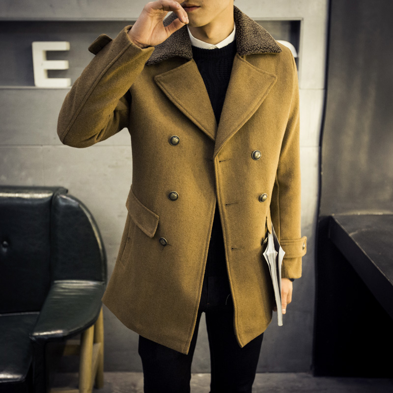 2015 winter top quality mens thick Woolen Coat Men double Breasted Windbreaker Warm Trench cashmere Jackets Overcoat 3XL 4XL #01Одежда и ак�е��уары<br><br><br>Aliexpress