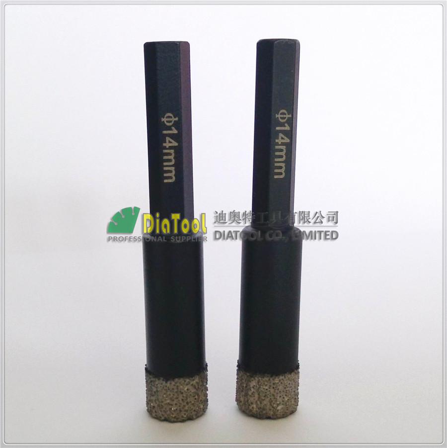 2pcs 14mm Hex shank professional quality Vacuum brazed diamond core bits dry drilling bits
