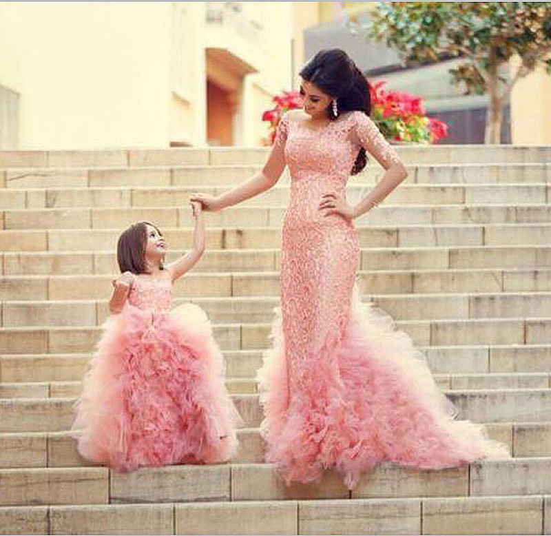 Vintage Mother Daughter Pageant Evening Dresses Pink Ruffles Long Sleeves Mermaid Evening Gown 2015 Party Prom Dresses CH-695(China (Mainland))