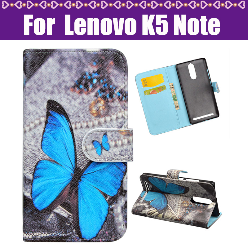 Cover For Lenovo K5 Note Moblie Case Cartoon Fashion Painted PU Stand Flip Leather Cover Case For Lenovo K5 Note Phone Case(China (Mainland))