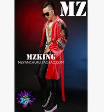 S-5XL 2015 NEW HOT Men singer BIGBANG right Zhi-Long TOP diamond imports velvet gown costumes Tabard coats nightclub clothing(China (Mainland))