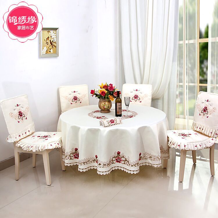 New 2016 high quality openwork embroidery Table cloth home hotel and catering wedding round tablecloths Home Table(China (Mainland))