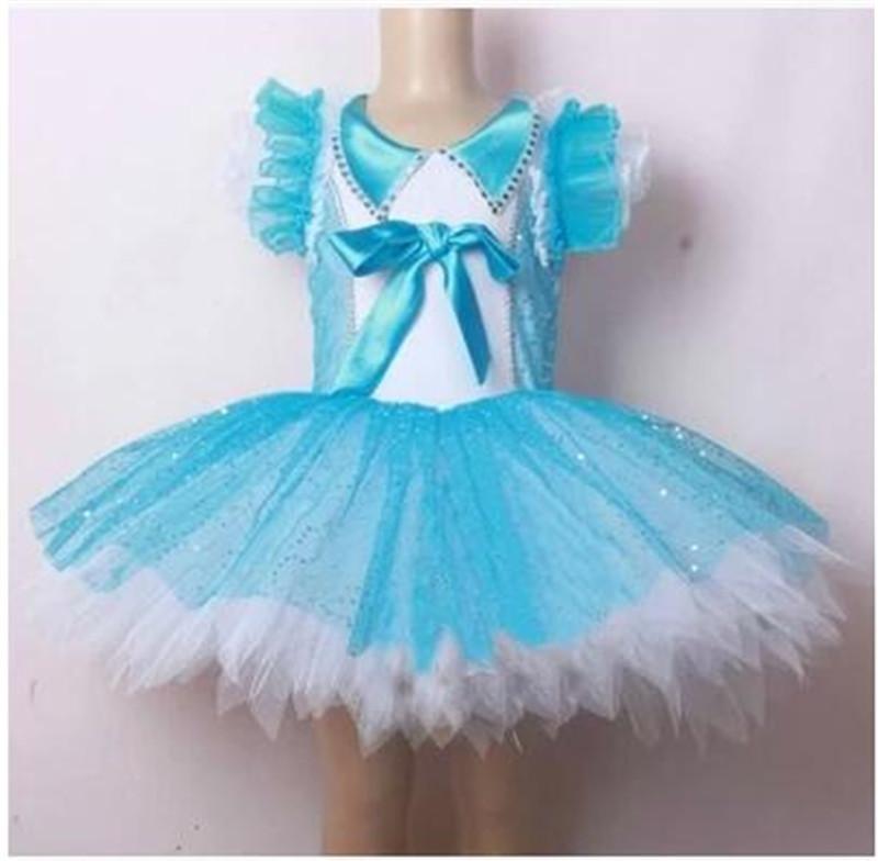 2015 Little Swan Dance Costumes Ballet Dress for Girls Blue Veil Short Sleeve Princess Meninas Saia Ballet Dance wear(China (Mainland))