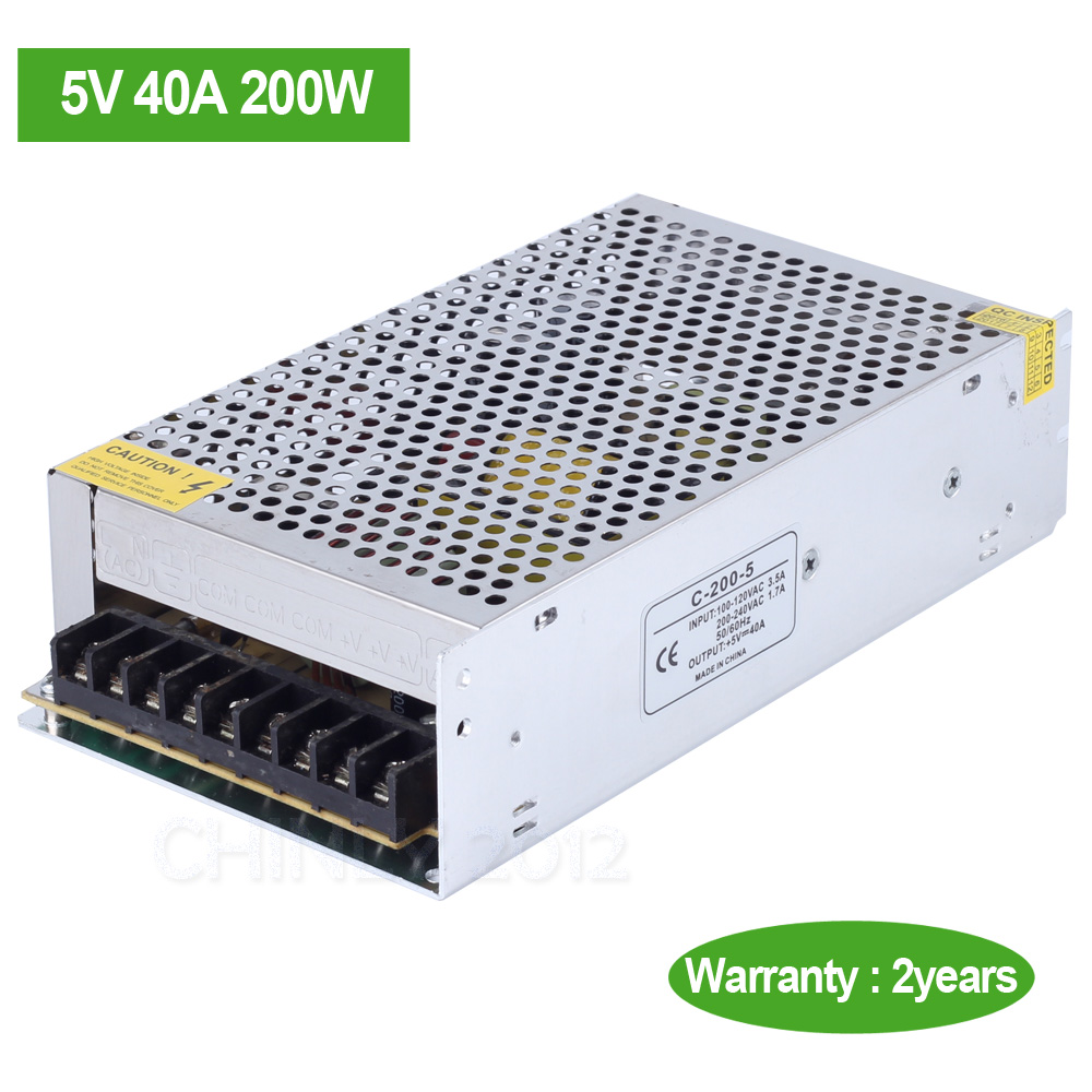 DC5V 40A 200W LED driver Switch Power Supply Transformer For Led Strip Light LED module(China (Mainland))
