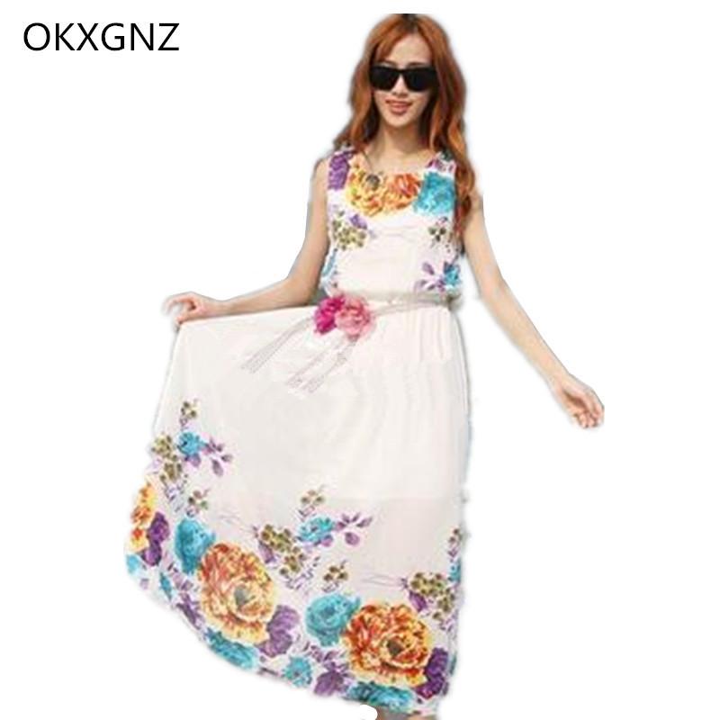 OKXGNZ 2017 Summer Sleeveless Floral Chiffon Bohemia Dress Holiday Beach Dress Fashion Sexy Women Dress Plus Size Vestidos B022(China (Mainland))
