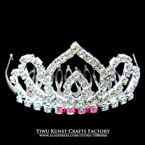 Silver Rhinestones Princess Queen Pageant Baby Crowns Tiaras FC033(China (Mainland))