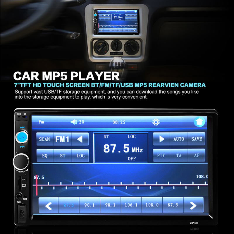 7inch LCD 2 Din HD Car Stero Radio MP5 Player Touch Screen Bluetooth Car Player Support FM/USB/AUX+Wireless Remote+USB Charger(China (Mainland))