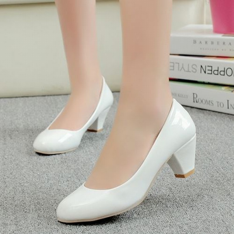 2015 chunky heels patent pu simple summer pumps vintage sexy wedding shoes for women casual office party pumps<br><br>Aliexpress