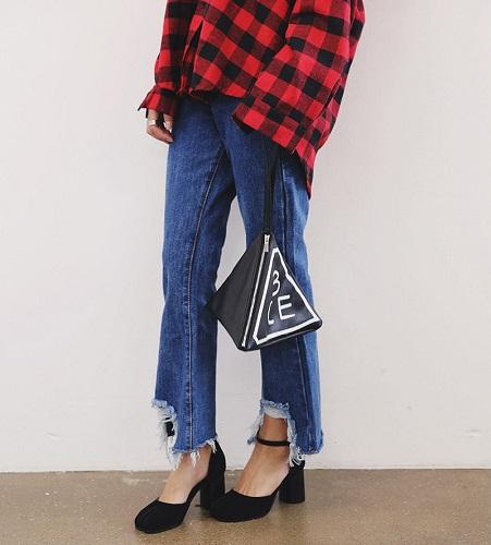 Vintage stylenanda Unique Retro Jeans Distrressed Trousers Bell Bottom Jeans Slim Female