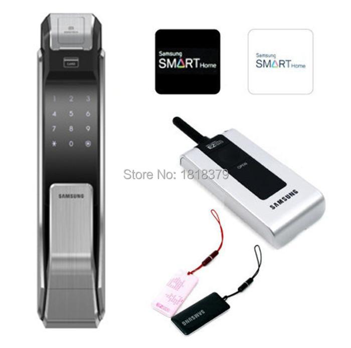 Samsung SHS-P718 Smart Security Push Pull Keyless fingerprint Digital lock Tag like P910 With Remote +2 Tag Card+2 RFID Card(China (Mainland))