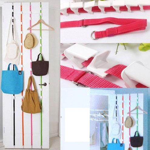 8 Hooks Adjustment Door Strong Bag Belt Hang Rope for Hat Clothes,Random Color(China (Mainland))