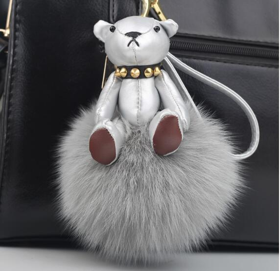 hot sale Karlito plush toys Charm pendant real fur pompom F monster fur ball bag hanging drop Bag Bugs Tag Leather Accessories(China (Mainland))