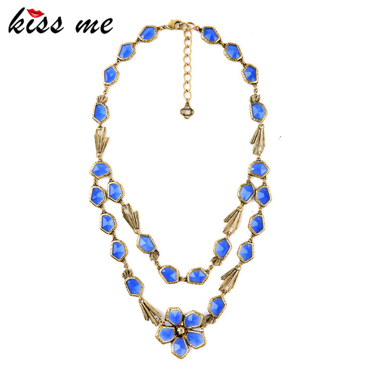 Blue Classic Turkey Jewelry Online Shopping Fashion Tide Fashion Necklaces for Women 2015 Factory Wholesale(China (Mainland))