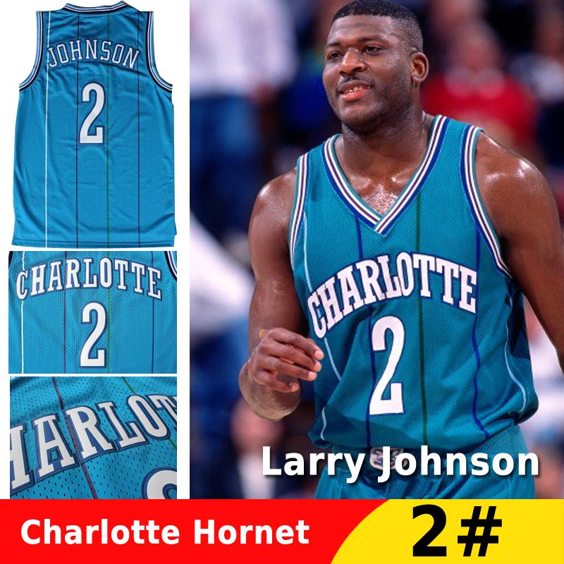 Free Shipping Retro Charlotte Hornets Grandmama 2# Larry Johnson Jersey Cheap Basketball Jerseys Green Classic Sale For Mens(China (Mainland))