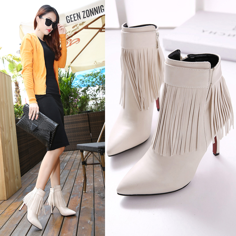 2015Red Bottom high Heels Boots Women Pointed Toe PU Soft Leather fringe Tassel Ankle Winter Ladies Spring Autumn - May LI's store