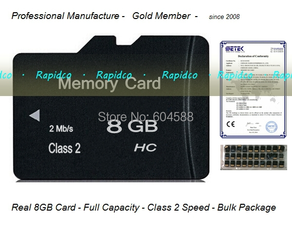 New-500pcs/lot Real 8GB full storage class 2 micro size sd card/ Memory card/2015 Wholesale Promotion cheap price China factory(China (Mainland))