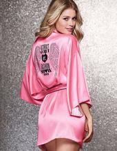 Top Quality Hot Sell Robes For Women Peach Pink Angel Wings Hot Diamond Robe/pajamas/bath Robe Kimono Sexy Silk Robe Nightgown(China (Mainland))