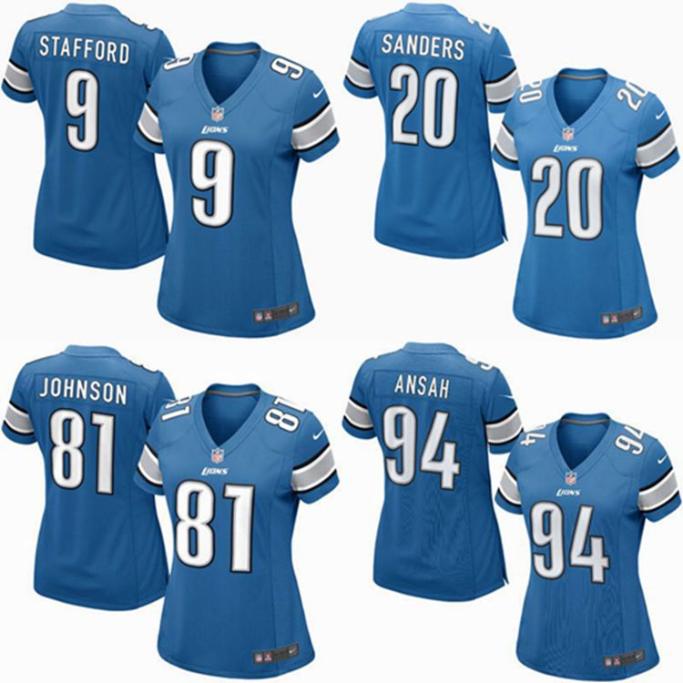 2016 Women Detroit Lions, 81# Johnson,20 Barry Sanders, 9 Matthew Stafford, 94# Ezekiel Ansah, blue 100% stitched logo(China (Mainland))