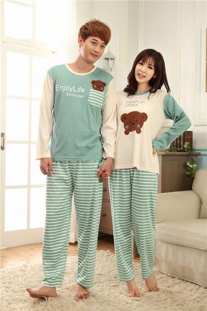 Новый 2016 зимой толстые пижамы осень хлопка женщин пижамы мужчины женщины пижамы ...