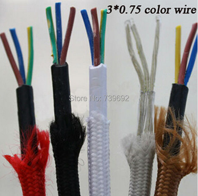 10m/lot braided 3 core electrical cord Vintage lamp electrical wire copper wire DIY accessories pendant light electrical wire(China (Mainland))
