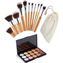 1 Set 15 Colors Face Cream Makeup Party Concealer Palette+11 pcs Powder Brush Cosmetic set Makeup Kit Maquiagem Contour M02408