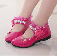 Girls Shoes Spring Autumn Princess Flower Lace PU Leather Shoes Cute Bowknot For 1-11 Ages Tolddler Shoes t-x559(China (Mainland))