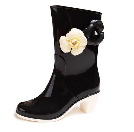 Elegant High-heeled Rain Boots/ Ladies' Water Shoes With Camellia/  Calf-high Waterproof Boots