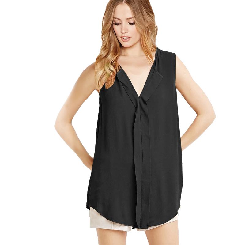 Boyfriend Style Long Blusas 2016 Summer Plus Size 6XL Fashion Sleeveless V Neck Chiffon Women Blouses Tops Shirts XXXXL 5XL(China (Mainland))