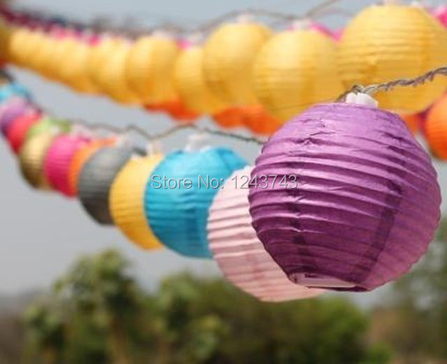 (20pcs/Lot) 3''(7.5cm) And String Lights Combination Round Chinese Lantern White Silk Lanterns For Wedding Party Decorations(China (Mainland))