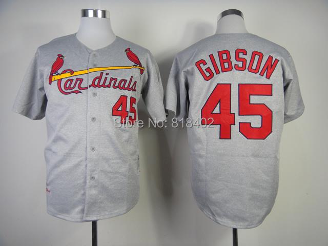 Free shipping-St. Louis #45 Gibson Blue/Grey jersey,Baseball throwback jerseys(China (Mainland))