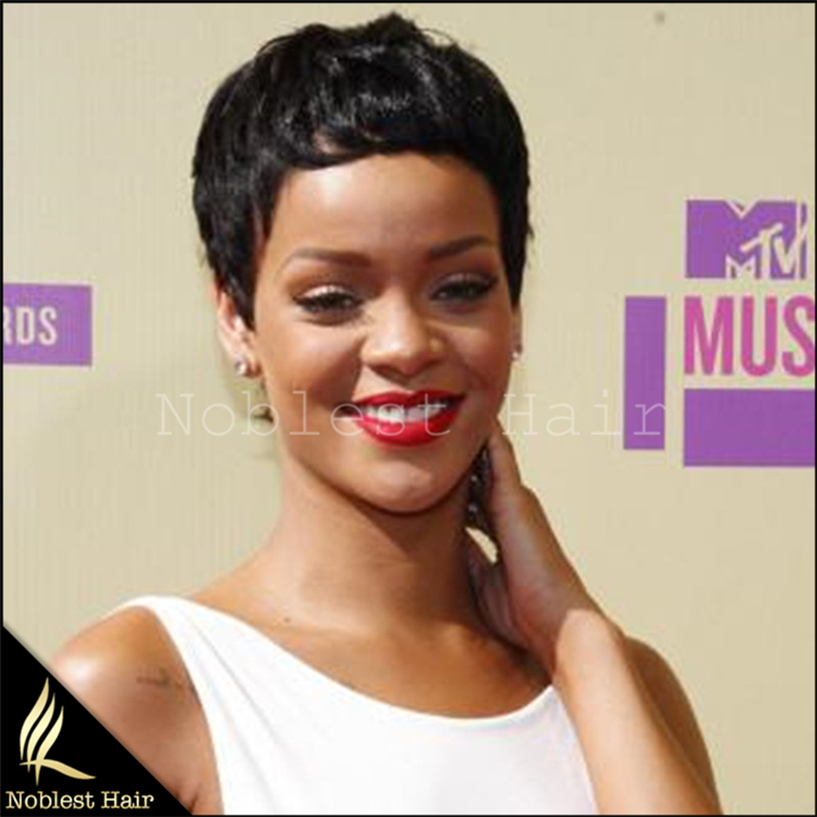 Glueless Full Lace Human Hair Wigs Brazilian Virgin Hair Lace Front Rihanna Sexy Short Hairstyle For Black Women With Baby Hair <br><br>Aliexpress