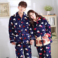 Ms 2016 Winter Lovers Pajamas With Thick Flannel Long Suit Male Cartoon Coral Fleece Pajamas Big