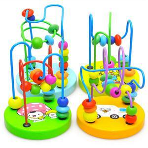 1PC NEW HOT Baby wooden toy Mini around beads Wire maze Colorful Educational game Children Toys Free(China (Mainland))