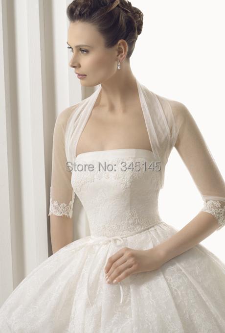 2015 HOT SALE Long 3/4 Sleeve Lace Bridal Bolero Jacket FREE Shipping Elegant Cheap Tulle Wedding Jackets(China (Mainland))