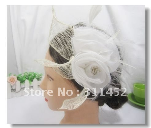 silk flower fascinator,white wedding headpiece attached on hair clip,10pcs/lot