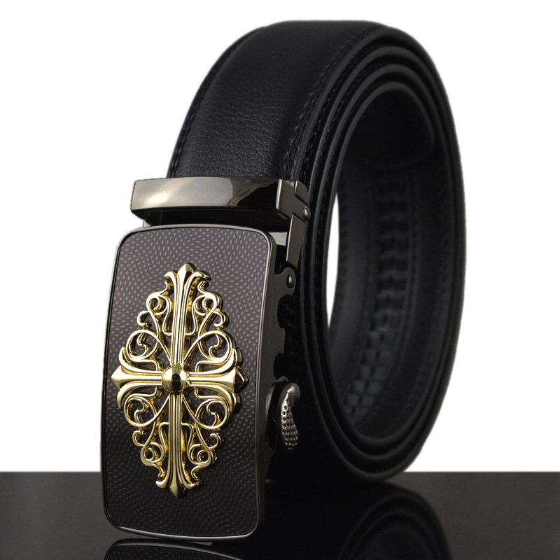 fashion new belt genuine leather men alloy luxury belt business 3.5 belts for men(China (Mainland))