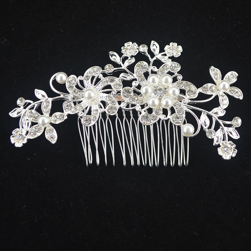 Beautiful Floral Wedding Tiara Sparkling Silver Plated Austrian Crystal Pearl Bridal Hair Combs Hair Jewelry Hair Accessories(China (Mainland))