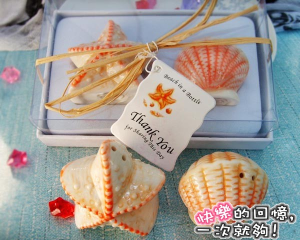 Free Shipping Starfish Shell Salt Pepper Ceramic Shakers Wedding decoration Party and holiday Favor and christmas supplies(China (Mainland))