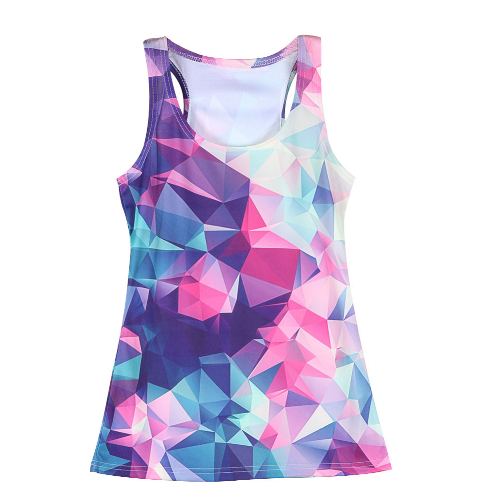 Fashion Graphic Low Poly Women's 3D Tank Tops All Over Print Slim Fit(China (Mainland))