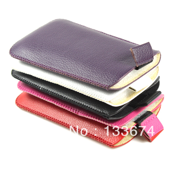 5 Colors New Pull Up Leather Skin Smart Case Cover Pouch Sleeve For iPhone HTC(China (Mainland))