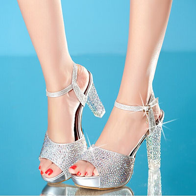 2016 Summer New High Heels Sandals Women Shoes Crystal Platform Fish Head Blue Gold Silver Diamond Fashion Female ZK15 - Under Feet store