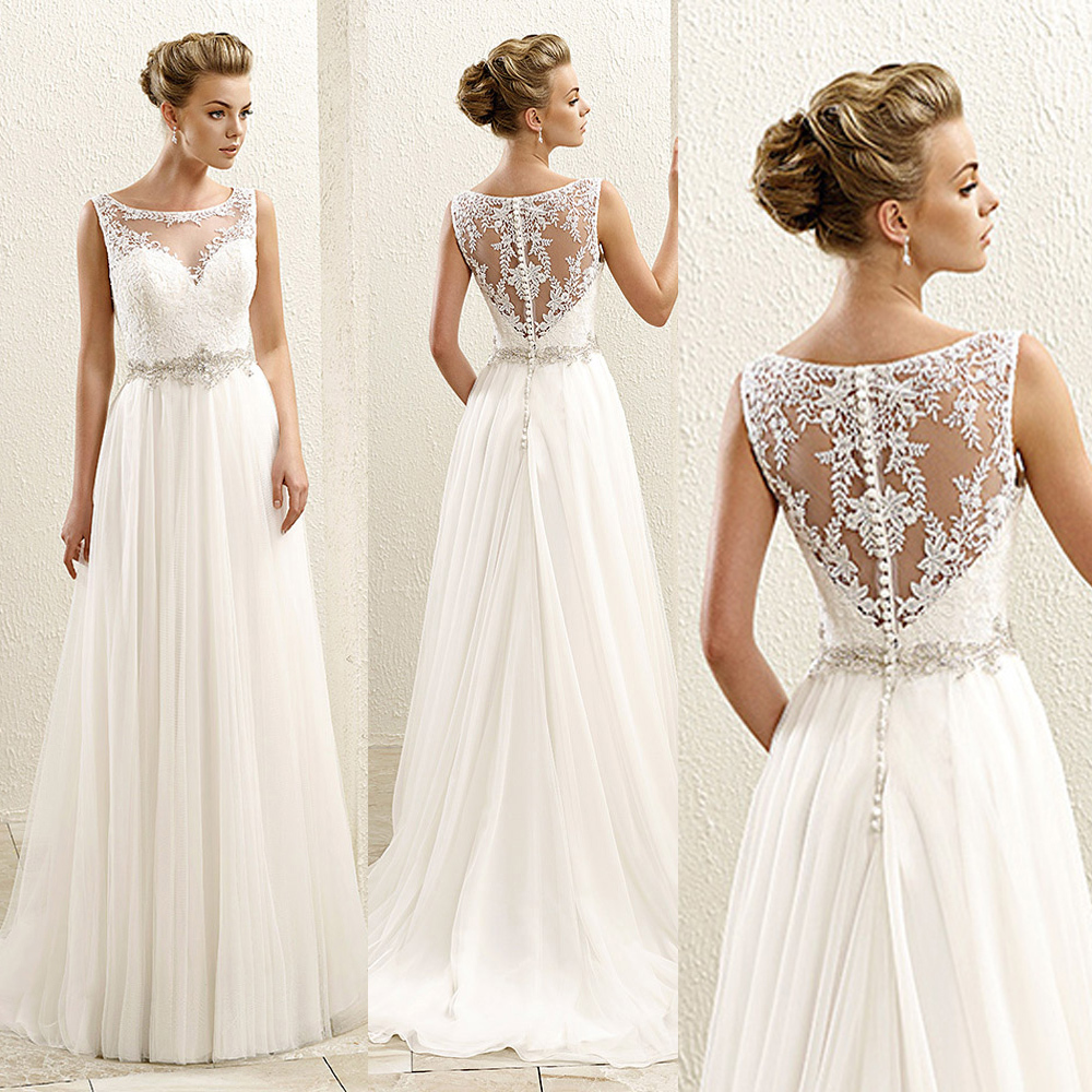 2015 Cheap Summer Beach A Line White Chiffon Wedding Dress