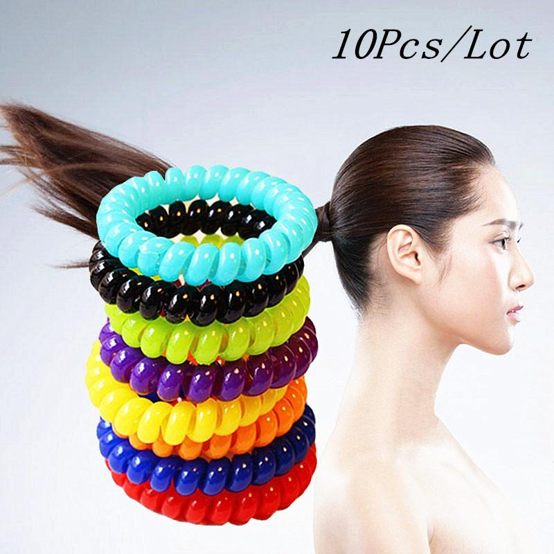 10pcs Womens Fashion Candy Color Bigger Wider Elastic Telephone Wire Hair Band Headband Rope Ponytail Holder Ties Accessories(China (Mainland))