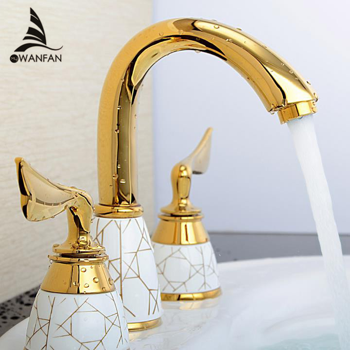 Luxury 3 piece Set Faucet Bathroom Mixer Deck Mounted Sink Tap Basin Faucet Set Golden Finish Mixer Tap Faucet YS-618K(China (Mainland))
