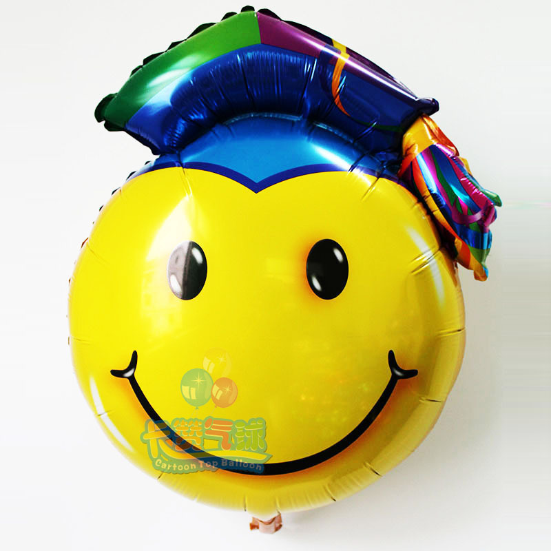 wholesale 50pcs 53*72CM air globos Doctorial hat balloons smiling face aluminium helium ballons graduation ceremony foil balloon<br><br>Aliexpress